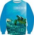 2016 estilo Harajuku 3D sudadera suéter de Coral tortugas de mar ballenas costa impreso Fleece sudaderas con capucha mujeres / hombres cuello redondo tapas de la ropa