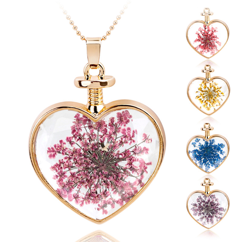 Fashion Multicolor Dry Flower Heart Crystal Glass Pendant Necklace Golden Necklace for Women Jewerly accessories Collares XL403