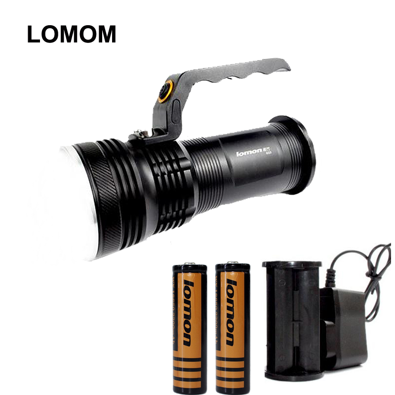 ФОТО LOMOM Q5 outdoor lighting Aluminum Alloy rechargeable camping portable spotlight LED Flashlight +18650 battery +charger