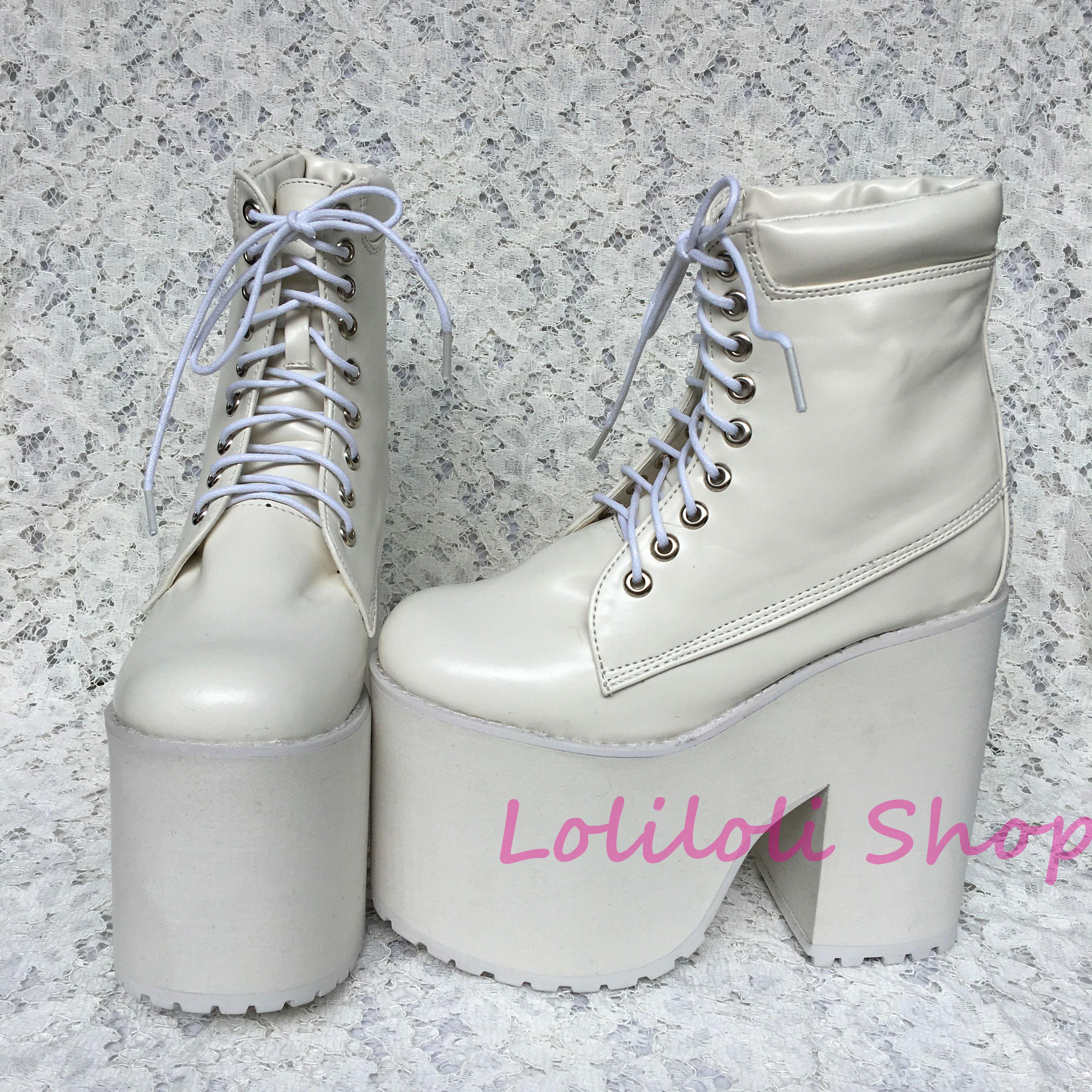 Personalizado blanco Tacón Lolita Botas Dulce Brillante 5195n Cruz Japonés Piel Lolilloliyoyo Cordón Grueso Blanco Zapatos Multiple Antaina Diseño Princesa U06nW6