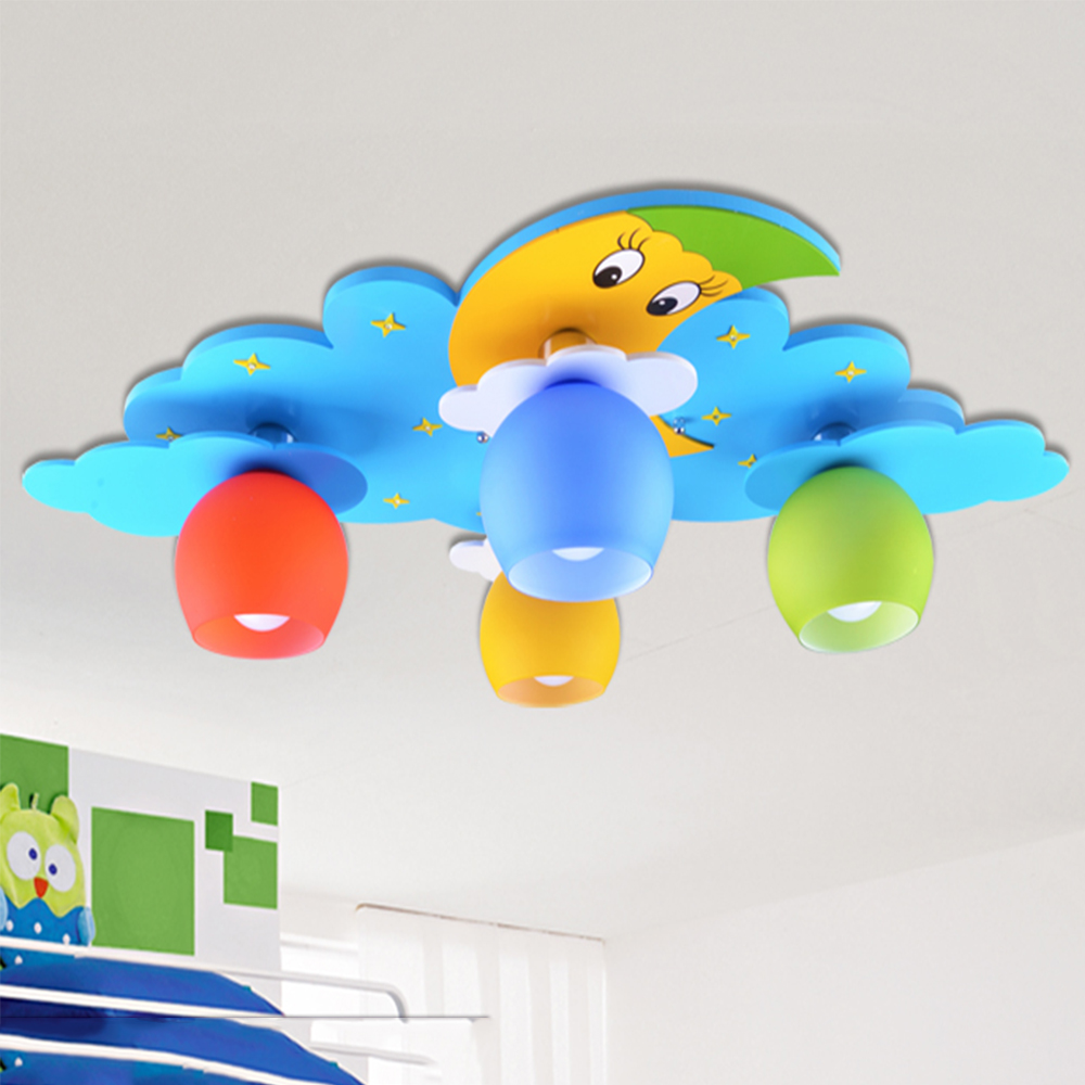 lustre lighting children room light E27 110V 220V led ceiling lighting bedroom kids windmill wood ceiling light