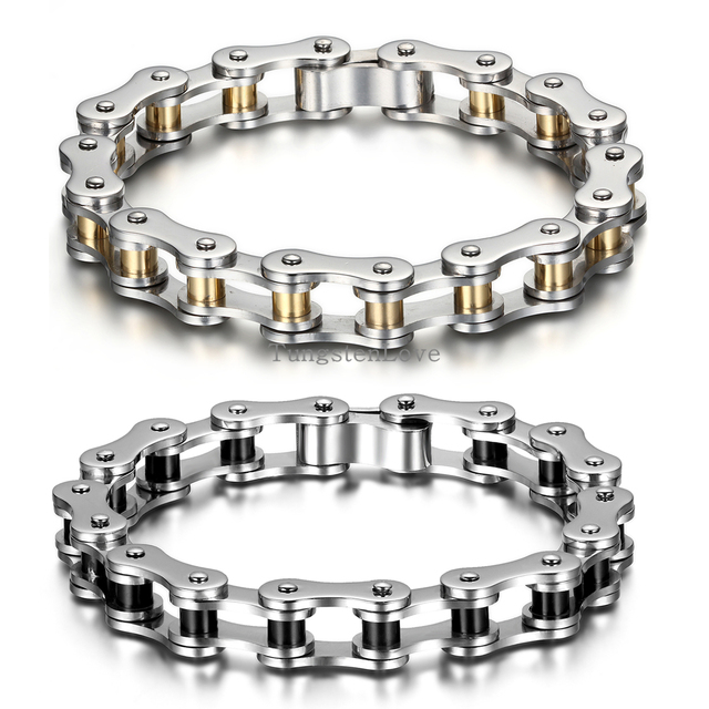 22cm 10mm Punk Stainless Steel Bracelet Men Biker Bicycle Motorcycle Chain S Bracelets Mens