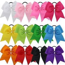 12Pcs 8 Inch Baby Girl Ponytail Holder Boutique Hair Bows Elastic Tie Headbands