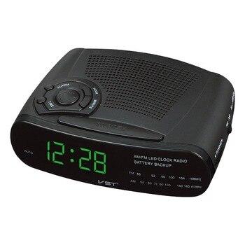 Светодиодный AM FM Радио Цифровой Будильник Подсветка Повтор радио Reveil AC мощность 220 В черные многофункциональные настольные часы Reloj Digital
