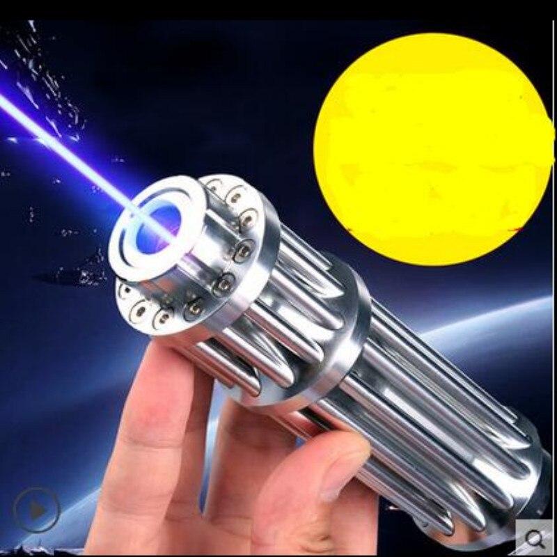 JSHFEI pointeurs Laser bleu haute puissance 450nm Laser lampe de poche allumette/brûler des cigares/bougie/chasse noire