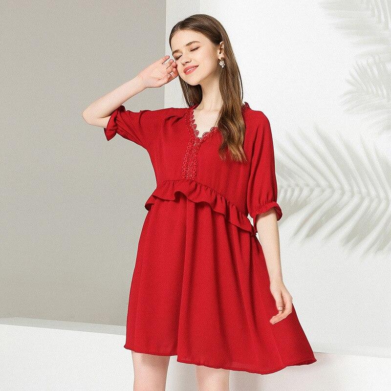 2018 été Style grande taille JUNIORS mignon flare robe femme v-cou ébouriffé empire lâche belle robe décontracté robes XL-XXXXL
