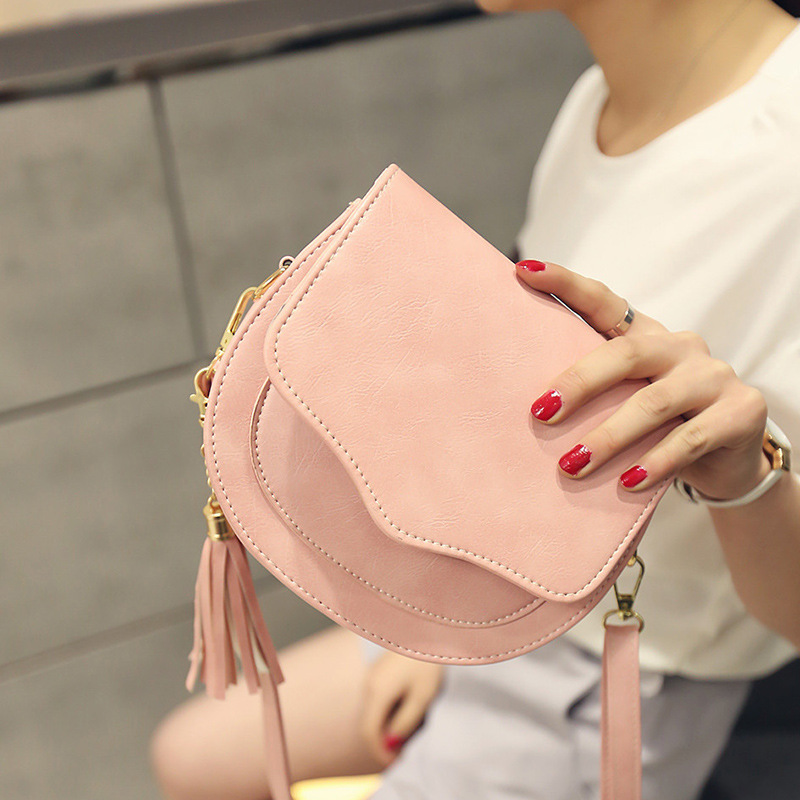 2019 New  Tassel Shoulder Bag Female Messenger Bag Mini Leather PU Fashion Bags New Style Inclined Shoulder Bag(China)