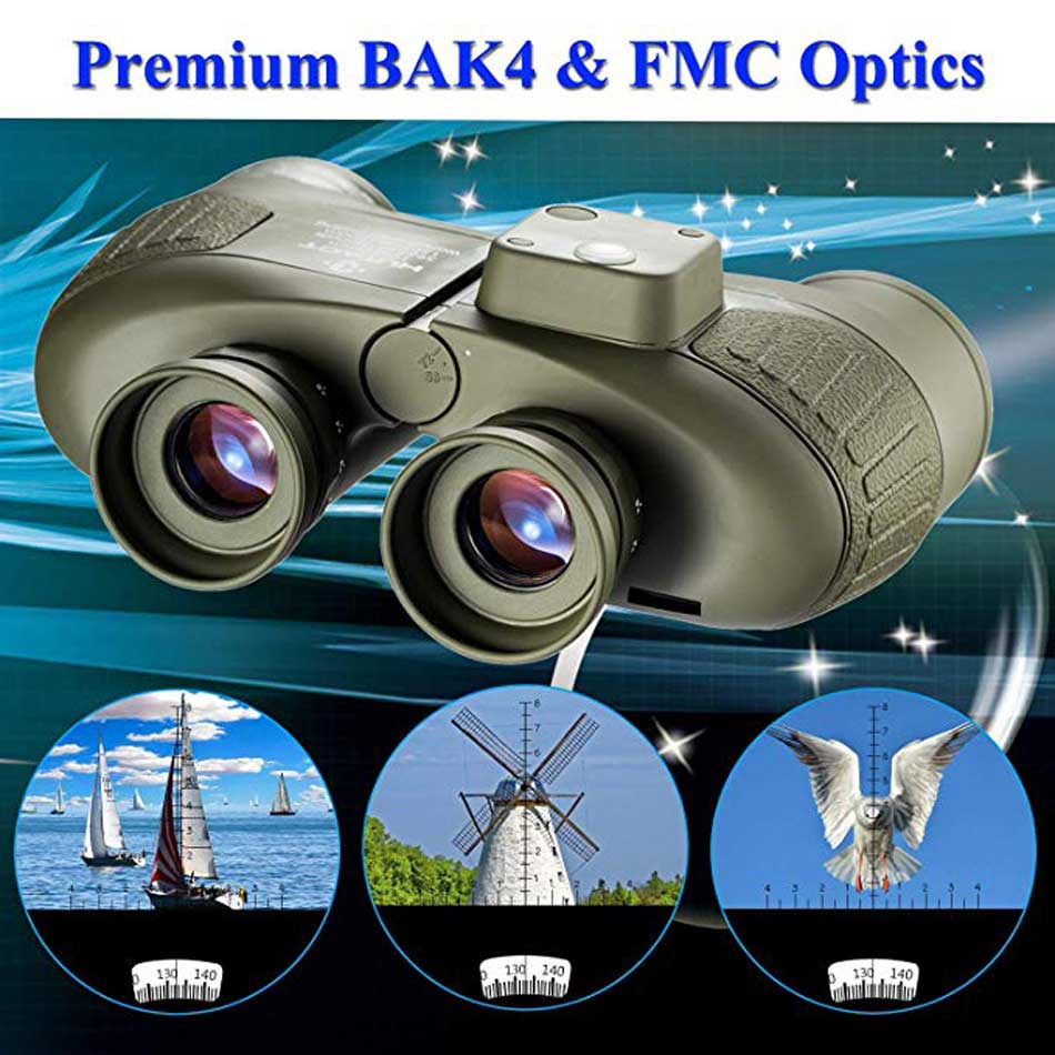 Military Waterproof Binoculars Boshile 10x50 Navy Telescope Binocular with rangefinder and Compass Fully Multi-coated Lens BAK4