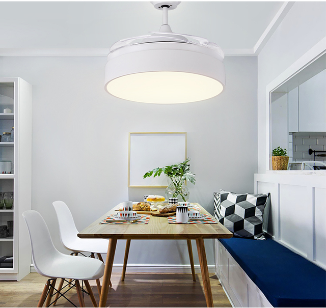 Chandelier fans with remote control modern minimalist indoor chandelier fan lights with LED light