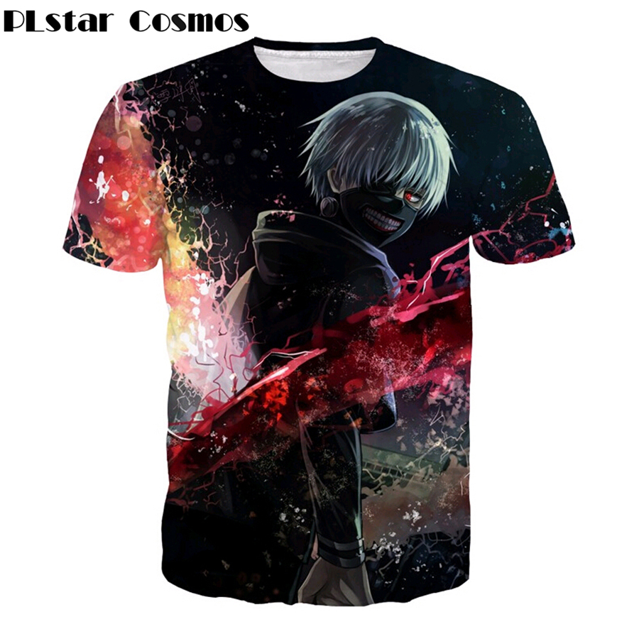 PLstar Cosmos Men Women Harajuku Short sleeve Anime Tokyo Ghoul t shirt At Kaneki Print 3D casual t shirt Hipster Hip Hop Tops