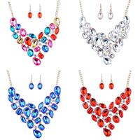 4 Pairs Golden Teardrop Bridal V-Necklace Dangle Earrings Fine Jewelry Set