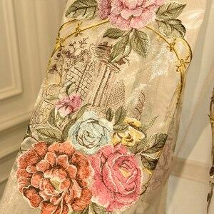 Image 4 - Cortina para janela de bege, grande flor europeu, com relevo, 4d, grossa, para janela, para sala de estar, alta qualidade