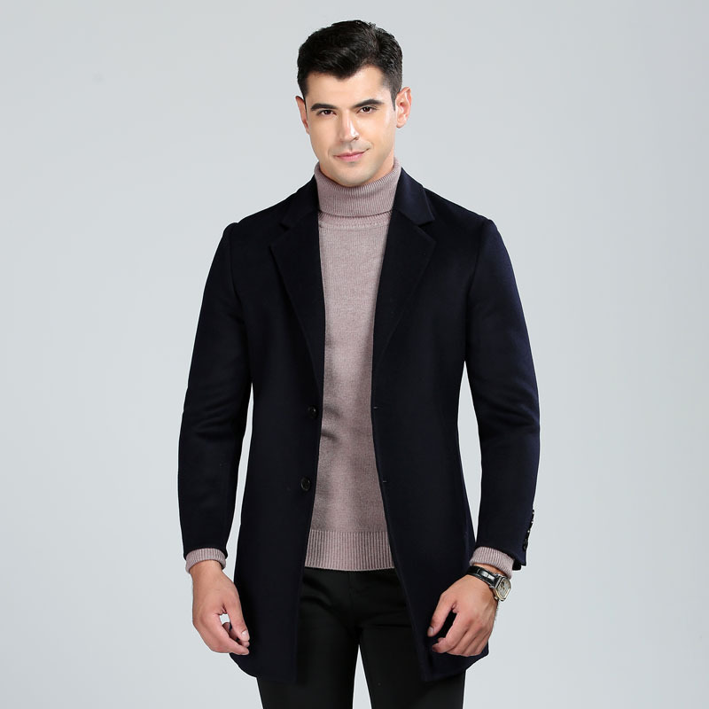 High Quality Hand Made Double Face Wool Coats Men 2019 New Style Fashion Turn Down Collar Solid Color Casual Woolen Outerwear