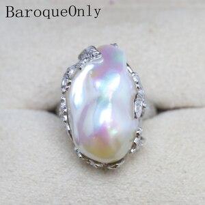 Image 2 - Baroque Original Handmade 925 Sterling Silver Baroque Pearl Ring Genuine Natural Freshwater Pearl Vintage   RV