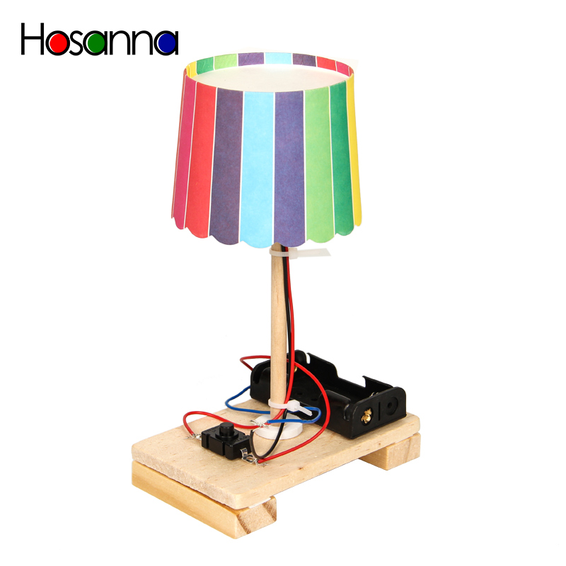 Hosanna Kids DIY Mini Table Lamp Model Electric Wooden Science Toys Kit Learning Educational Toys For Children Boys Girl 4 Years
