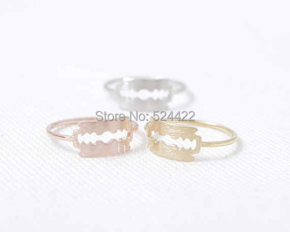 Мин 1 шт Золотое серебряное розово-Золотое бритвенное лезвие кольцо крутое кольцо для мужчин JZ124