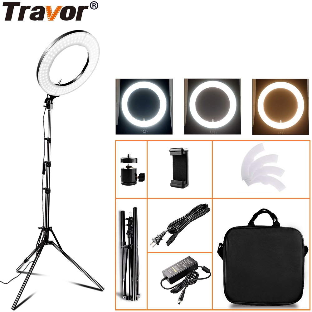 Travor RL 12A LED Ring Light With Tripod Dimmable Bicolor Studio Annular Lamp Round photo light