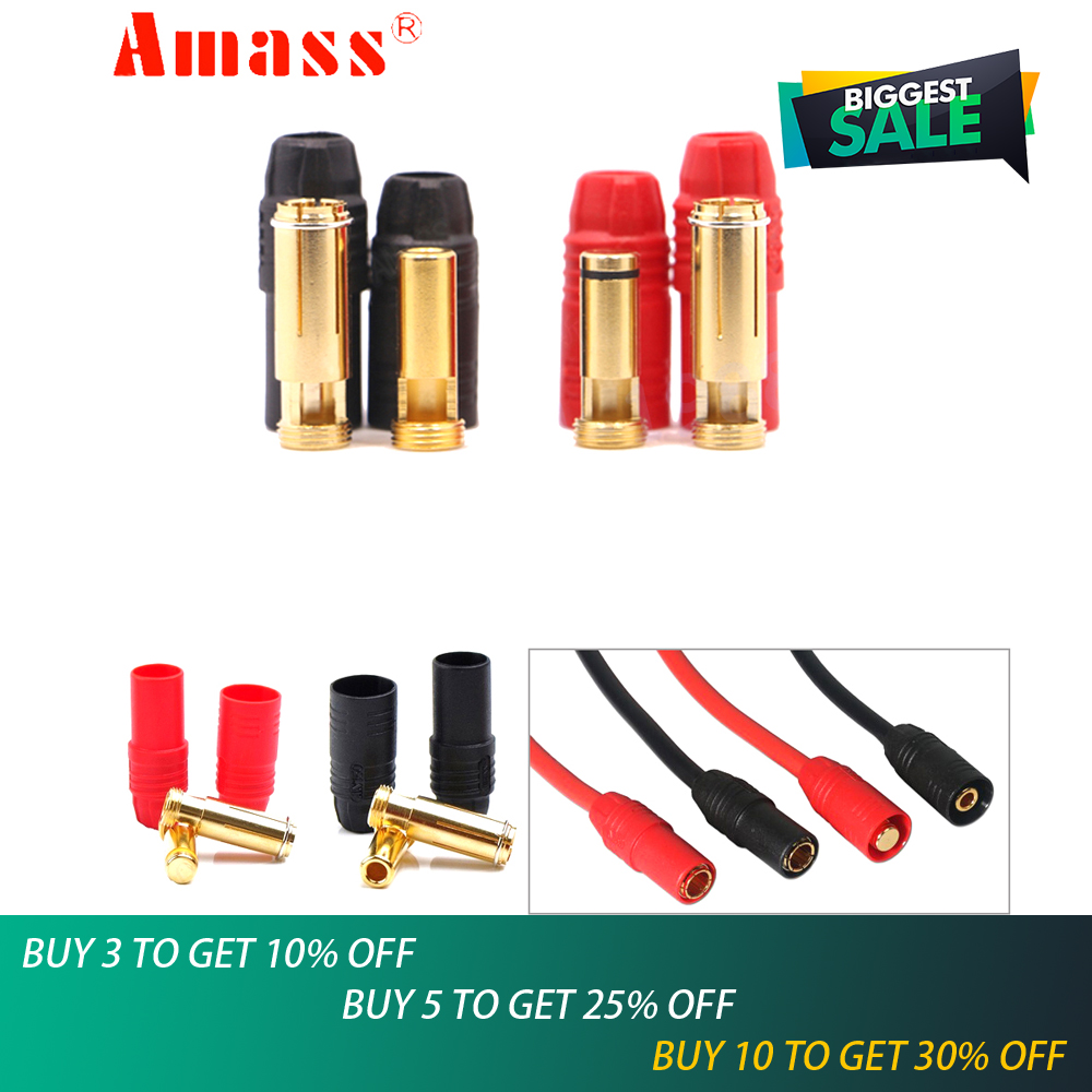 1set Amass AS150 Gold Plated Banana Plug 7mm Male/Female For High Voltage Battery Red/Black