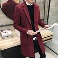 El hombre en el largo abrigo de invierno suéter suéter de la capa delgada Coreana de lana capa de la rebeca masculina adolescentes