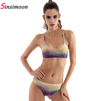 New Arrival Sexy Cross Back Bikini Set Women Two Piece Swimwear Summer S M L Patchwork