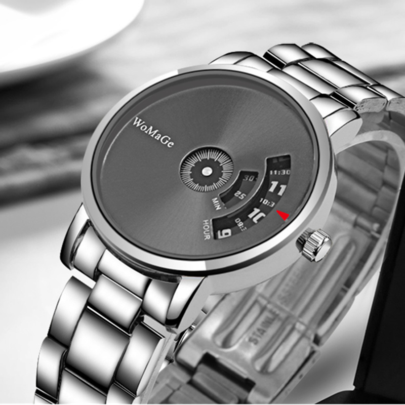 WoMaGe Brand Turntable Men's Watch Men Watch Fashion Mens Watches Luxury Full Steel Wrist Watch Clock Saat Relogio Masculino