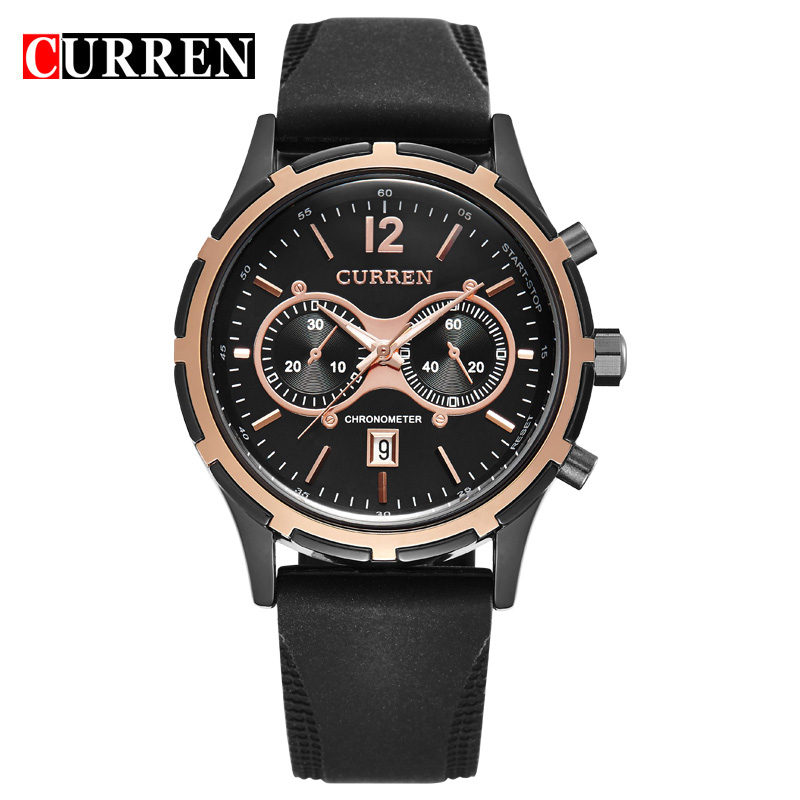 CURREN 8066 famous brand men Round Dial Rubber Band Men's Wrist Watch with Calendar