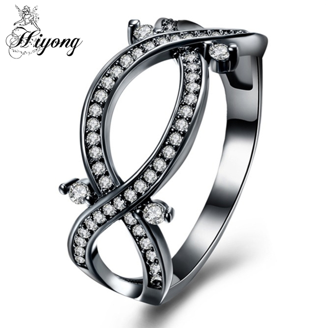 Hiyong Personalized Br Hollow Infinity Band Ring Anniversary Jewelry Gift For Her Fashion Black Gun Color
