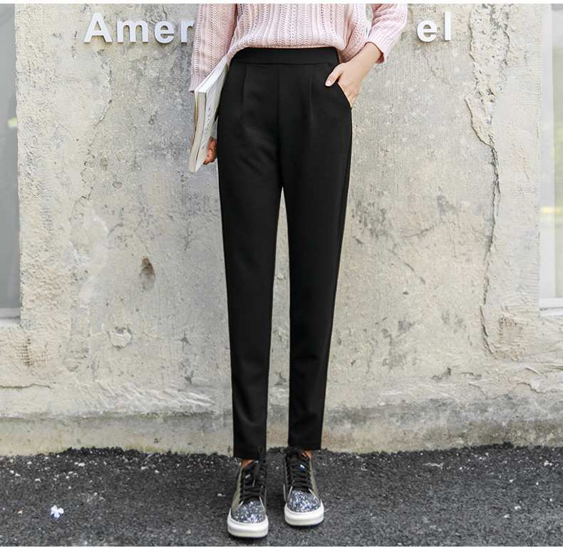 BIVIGAOS Spring Summer New Ladies Korean OL Black Harem Pants Breathable Thin Casual Pencil Pants Simple Suit Trousers For Women 24
