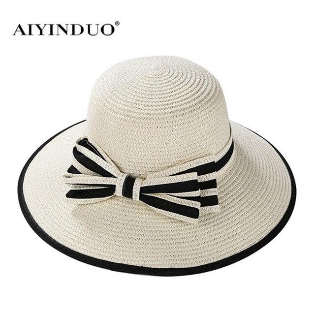 Merek baru Jerami Topi Untuk Wanita Topi Panama Beige Putih wanita Pantai  Kasual Lebar Bertepi Musim a6ad644358
