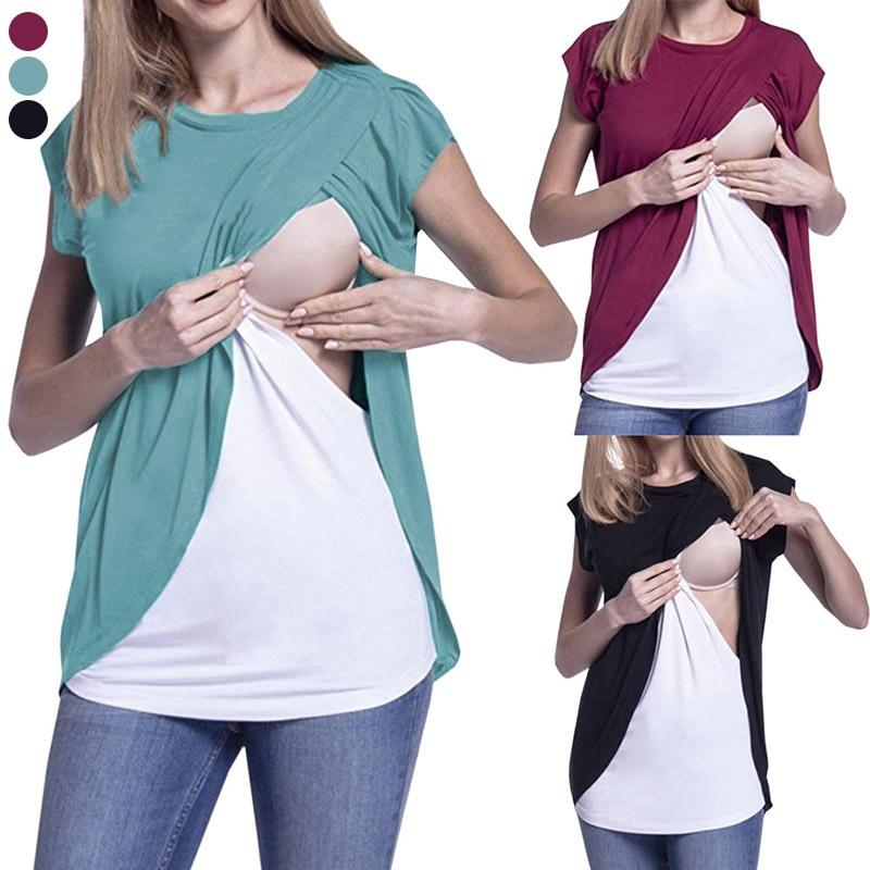 2018 Neue Sommer Frauen Schwangere Mutterschaft Pflege Shirts Stillen Kurzarm Tops Shirt T