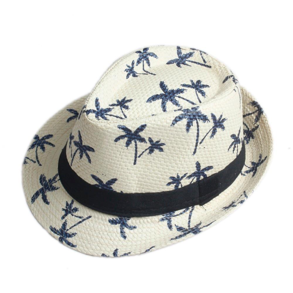 10 Color Children Summer straw Sun hat kids Boho Beach Sunhat Fedora hat  Trilby panama Hat handwork for boy girl Gangster Cap 3864615fa617