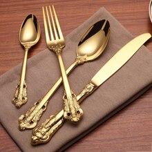Cubiertos de oro Vintage de lujo de acero inoxidable cuchillo tenedores cubiertos juego de mesa Peralatan Makan Camping Inox vajilla de fiesta 50N0043