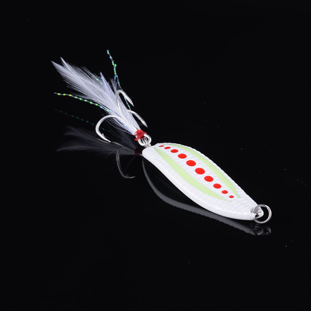1Pcs High Quality Luminous Fishing Spoon Lure 7g 10g 15g 20g BKK Feather Hooks 3Color Metal Fishing Tackle Spinner Bait Wobblers in Fishing Lures from Sports Entertainment