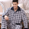 2016 Winter Spring Fall Keep Warm Thick Flannel Men Pajamas Set of Sleepcoat & Trousers Coral Fleece Sleepwear Thermal Nightgown