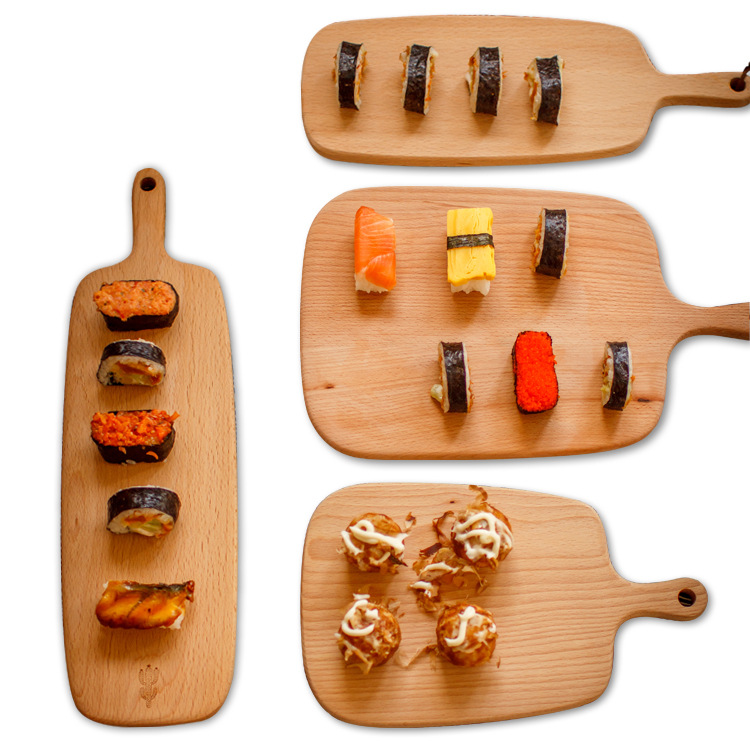 Japanese-style beech chopping board kitchen baking solid wood Pizza Sushi Bread mini chopping board cake display props