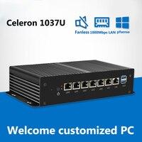 Безвентиляторный мини ПК 6*1000 Мбит/с Ethernet LAN Мини компьютер Celeron 1037U VPN сервер брандмауэр pfsense сети Industial компьютер