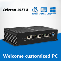 Fanless Mini PC 6*LAN Gigabit Ethernet Celeron 1007U Pentium 2117U Computer VPN Server Firewall pfsense Windows xp Industial pc