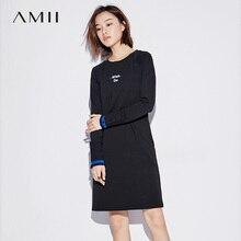 Amii минималистский Повседневное 2017, женская обувь зимние платье письмо по колено женские Платья для женщин