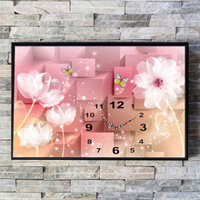 Abstract Modern Diamond Painting Embroidery Flower Butterfly Mosaic Diamond Wall Clock Painting Living Room Home Decoration