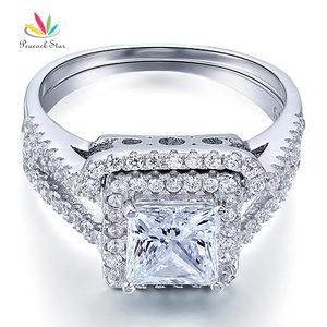 Image 4 - الطاووس ستار 1.5 قيراط الأميرة الصلبة 925 فضة الزفاف وعد خاتم الخطوبة مجموعة CFR8141