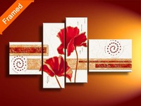 Four pcs oil painting on canvas stretched ready to hang abstract art oil painting for living room wall