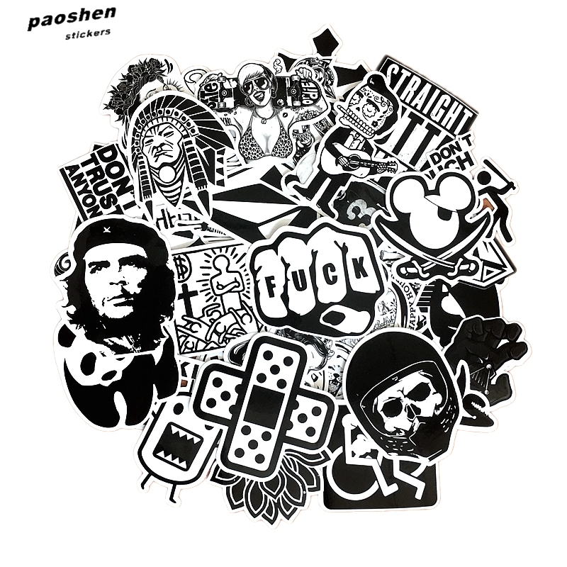 60 Pcs Black and White Cool DIY Stickers For Skateboard Laptop Luggage Snowboard Fridge Phone font