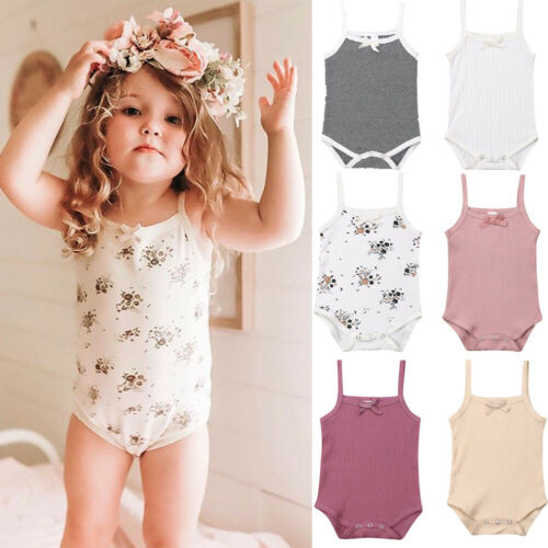 3PCS/Pack Newborn Infant Baby Girl Sleeveless Bodysuit Jumpsuit 3Pcs Home Outfit Clothes