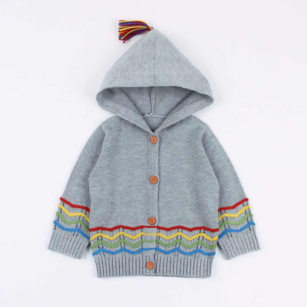 Dziecięce swetry dla dziewczynek sweter wiosna z długim rękawem maluch chłopcy dzianinowe kurtki płaszcze z kapturem noworodek Infantil odzież dziecięca