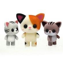 Маленькая милая Флокированная кукла, игрушки каваи, мини Коты, украшение автомобиля, фигурки, игрушки, дети, подарки для DIY, кукольный домик, флокированные животные
