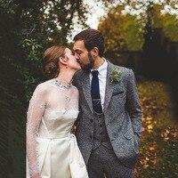 Tailored Men's Suits Tweed Latest Release Gray Tweed Suit Men's Classic Winter Wedding Suit Men 3 pieces (Jacket+Pants+Vest)