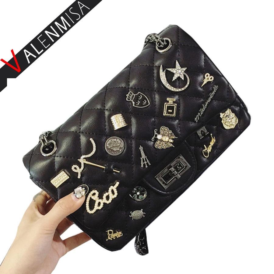 VALENMISA Brand Women Leather Handbags For Woman Fashion Designer Black Vintage Crossbody Shoulder Bags Chain Messenger Bag