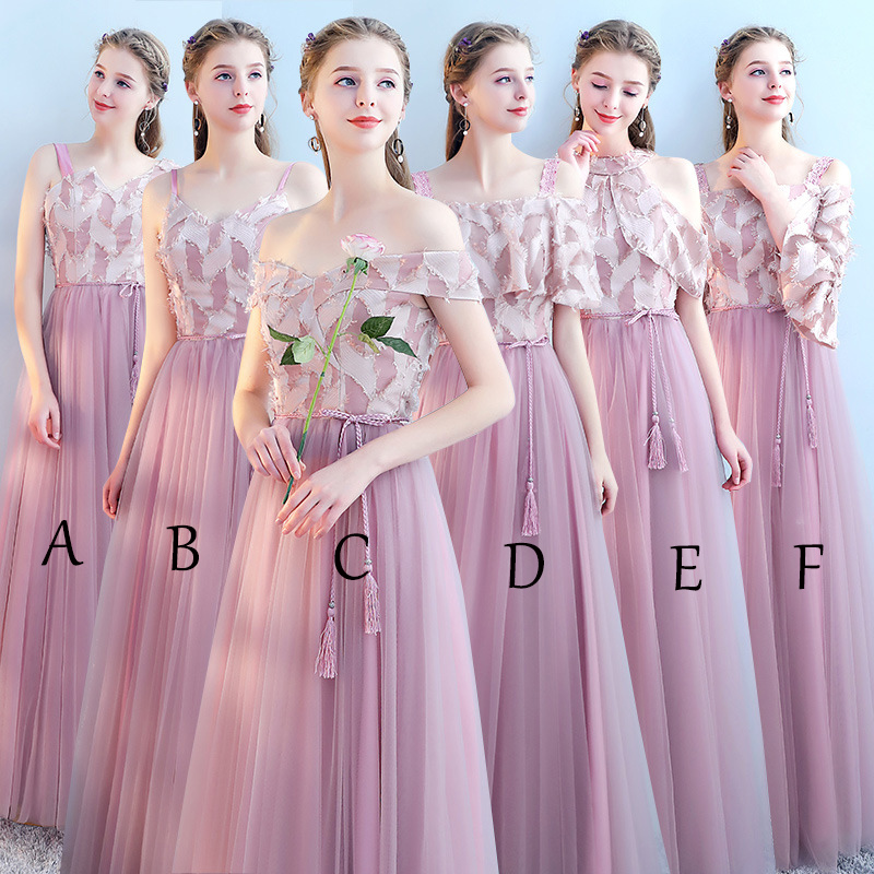 Mingli Tengda Elegant Bean Sand   Bridesmaid     Dress   Tulle V Neck Cheap Simple Prom Party Gown Spaghetti Straps Vestido De Noiva