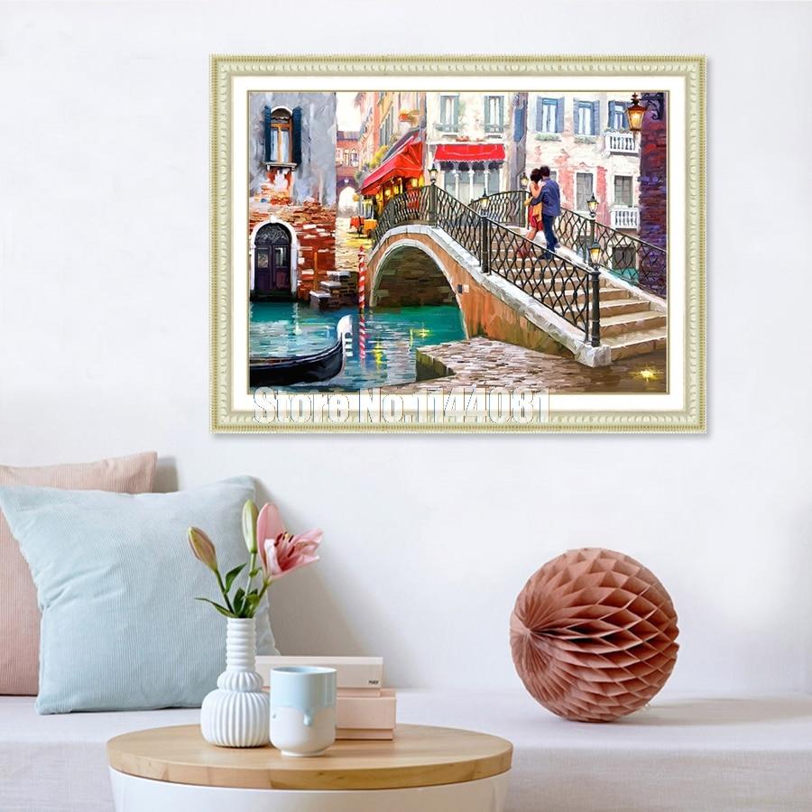 Full 5D DIY Diamond Painting Crystal Diamond mosaic Cross Stitch Needlework Forest Falls River Bridge Landscape Home Decorative