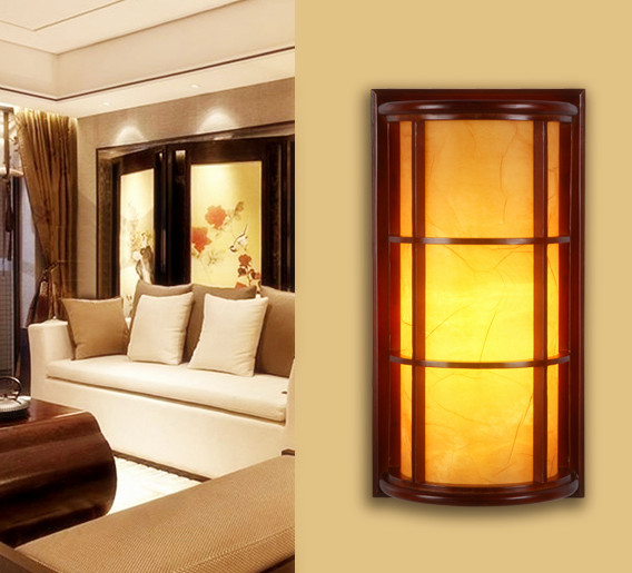 Chineses rustic red wood art wall lamps Modern classic yellow ...